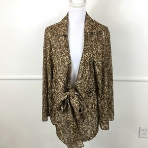 Lane Bryant Sheer Brown Tie Front Cardigan 18/20